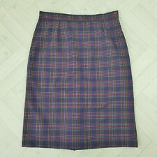 Vintage Purple Pink Yellow Check Wool Blend Pencil Skirt Size 16 18 Trow Mill