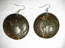 BIG EXOTIC KISSING DOLPHINS in HEART SHAPE ROUND LASER CUT COCONUT WOOD EARRINGS