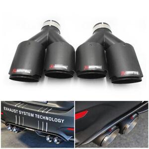 """1 Pair Car Carbon Fiber+Steel Exhaust Tip 2.5"""" Inlet Dual Pipe Muffler Trim"""
