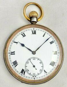 Antique Gun Metal Swiss Made 15 Jewel Consol Pocket Watch c.1920