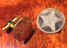 Unique Coin Cufflinks with Gift Box! Sea Star Ocean Starfish Bahamas Copper