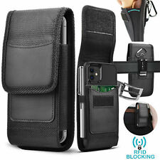 Cell Phone Holster Leather Wallet Case Cover with Belt Loop Pouch for Samsung