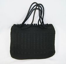 "Vintage 50's Black Ribbon Crochet Braided Rope Handles Handbag Purse 12 1/2"" W"