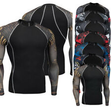 Mens Compression T Shirt  Long Sleeve Breathable Quick Dry Bodybuilding Tee Tops