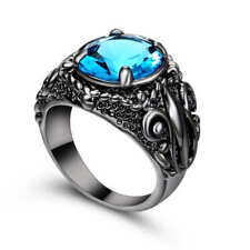 Blue Sapphire Big Stone Engagement Ring 18k black Gold Filled Jewelry Size 6