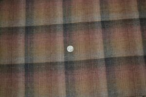 """Wool-like synthetic fabric, plaid in brown & blue, 54"""" x 2.4 yards"""