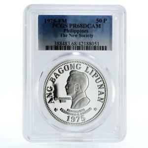 Philippines 50 pisos Ferdinand E. Marcos PR68 PCGS silver coin 1975
