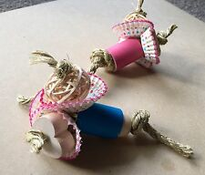 Bunny Bouquet Toss - Pet Rabbit Guinea Pig Toy - Wood Cardboard Forage Tube Chew