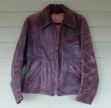1940s Leather Half-belt Barnstormer Motorcycle Jacket sz 38 Hercules? Horsehide?