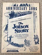 New ListingVtg 1946 Anniversary Song Sheet Music~The Jolson Story~Mood Music Company