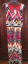 Womens L Kiara Maxi Dress Sleeveless Coral/Black/Tan/White Print NWT