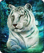 """WHITE TIGER QUEEN SIZE 79""""X96"""" SOFT MEDIUM WEIGHT FAUX FUR BED SPREAD BLANKET"""