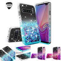 For Samsung Galaxy S10 Plus S10E Liquid Glitter Bling Case w/ Screen Protector