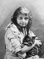 LOVELY GIRL Her Pet Friend Cat Kitten  - VICTORIAN Era Print