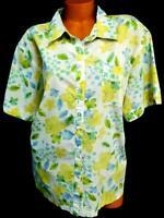 Bobbie brooks white multi color floral folded collar button down top 22W/24W