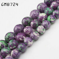 Round 4 6 8 10 12mm Natural Rain Stone Spacer Loose Beads Colorful Wholesale