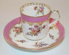 More details for antique coalport patt 4/380 pink floral split handle coffee cup & saucer 1860