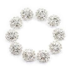 Crystal Rhinestone Button Flat back Decoration DIY 15mm 10 Pcs Clear X7Z4