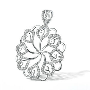 Sterling Silver Pearl 8mm to 15mm 0.8CT Natural Diamond Flower Pendant Luxurious