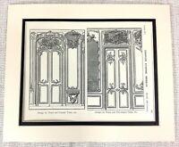 1903 Antico Stampa Louis XV Francese Interno Design Porta Carlo Etienne Briseux