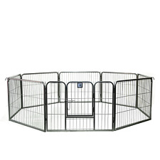 More details for 8 side heavy duty medium play pen dog puppy enclosure metal fence run cage fence