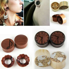 "Sono Wood Flared Horn Inlay Gauge Plug Hand Made Organic Floral Carved 8G-1"" Set"