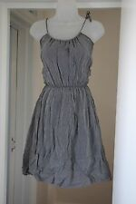 Thomas Burberry crinkled style stripey charcoal dress 8 10 XS Small Strap Summer