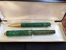 CARTER'S Green Marble Short 14 Kt Gold Nib Fountain Lever Pen & Pencil Vintage