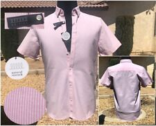 ZARA MAN (S) PINK/WHITE STRIPE REG FIT OXFORD COLLECTION S/S SHIRT Sz S BNWT