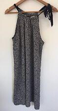 Saba Size 12 Dress Blue White Pattern Silk Drawstring Tie Neckline Lightweight