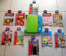Original LeapFrog LeapPad Green/Blue w/10 Books & Cartridges Tested-Works! (C)