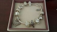 Authentic Pandora Sterling Silver Charm Bracelet with European Charms Beads 7.5""