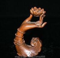 """Lotus de 4,6 """"en bois de buis sculpté à la main, feng shui guan yin"""