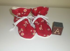 Red Cranberry floral corduroy TV baby booties/soft sole shoes SIZE LARGE