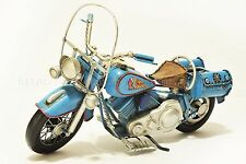 Handmade Blue Indian Motorcycle 1:8 Tinplate Antique Style Metal Model