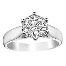 0.50Ct 14K White Gold Round Cut Moissanite Trellis Solitaire Engagement Ring