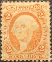 Vintage US Scott #R6 2 Cent Washington Bank Check Stamp