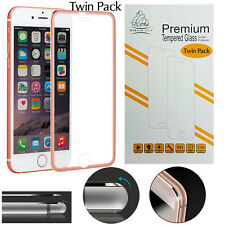 New Metal Edge iPhone 6S Plus/6 Plus Rose Gold Twin Pack Gorilla Tempered Glass