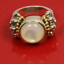 LAGOS Caviar 18K Gold Sterling Silver Mother Pearl 6.75 Ring Women Lady Gift NEW