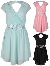 Womens Beaded Diamante Ladies Chiffon Keyhole Wrap Short Mini Dress Plus Size