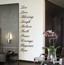 Faith Love Believe Laugh.-10 words Large vinyl Wall stickers Art Quote Decals
