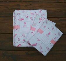 New Pottery Barn Kids Barbie duvet cover 2 pillowcases Full Queen white pink 3pc