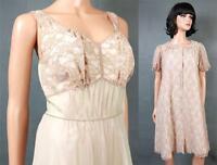 Vintage Peignoir Set Sz XS S Beige Lace Green Chiffon Pink Short Nightgown Robe