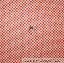 BonEful FABRIC Cotton Quilt Orange White Gingham Check Square Block Stripe SCRAP