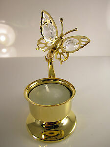 Teelicht mit Schmetterling mit Swarowski Kristallen Bestückt  Gold Plattiert Neu