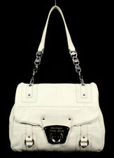SALVATORE FERRAGAMO Bone White Leather Flap Shoulder Bag