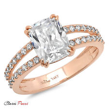 3.45 CT Engagement ring Simulated Cushion cut 14K Rose Gold Bridal Jewelry