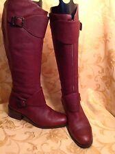 Pour La Victoire SZ 7.5M leather Burgundy Boot straps buckles Nice $425