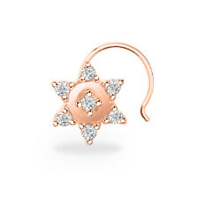 Cz Seven Stone Women'S Daily Nose Pin 14K Rose Gold Finish Star Shape Cluster