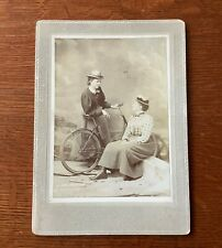 BICYCLE WOMEN Antique CABINET CARD Vintage PHOTO IMAGES post Victorian